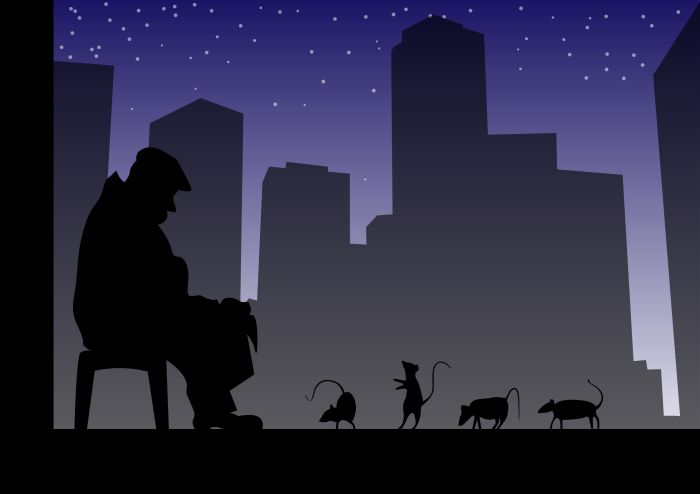 Urban story man & mice in the city