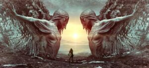 Fantasy scene starter two giant stone statues overlooking a warrior