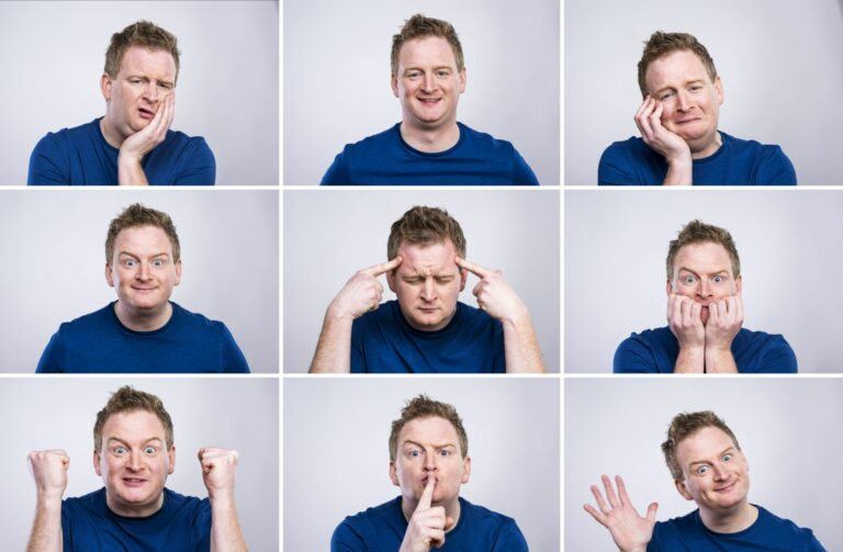 A man having several emotions