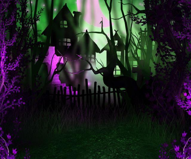 Halloween Backdop in greens and purples