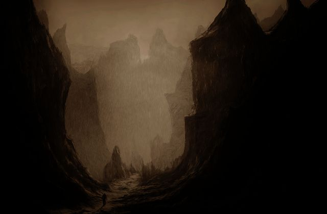 surreal-painting-oa man walking through an ominous valley